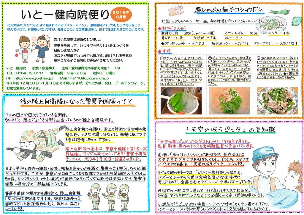 岡崎市の整体【いとー健向院】の院内便り(8月号)